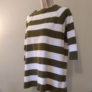 Zara Knit Striped 3/4 Sleeve Sweater